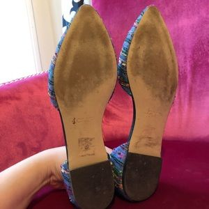 J. Crew Shoes - J. Crew Denim & Multi-Color Thread D'Orsay Flats